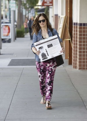 Minka Kelly in Floral Pants Shopping in Beverly Hills
