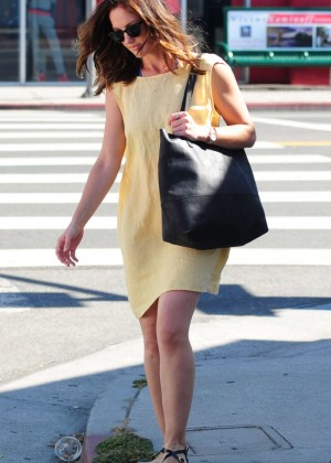Minka Kelly in Yellow Dress out in LA