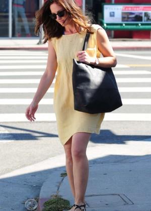 Minka Kelly in Yellow Dress out in LA