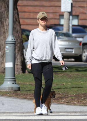 Minka Kelly - Walking her dog on set of 'Titans' in Toronto