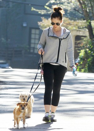 Minka Kelly in Tights Walking her dogs in Hollywood
