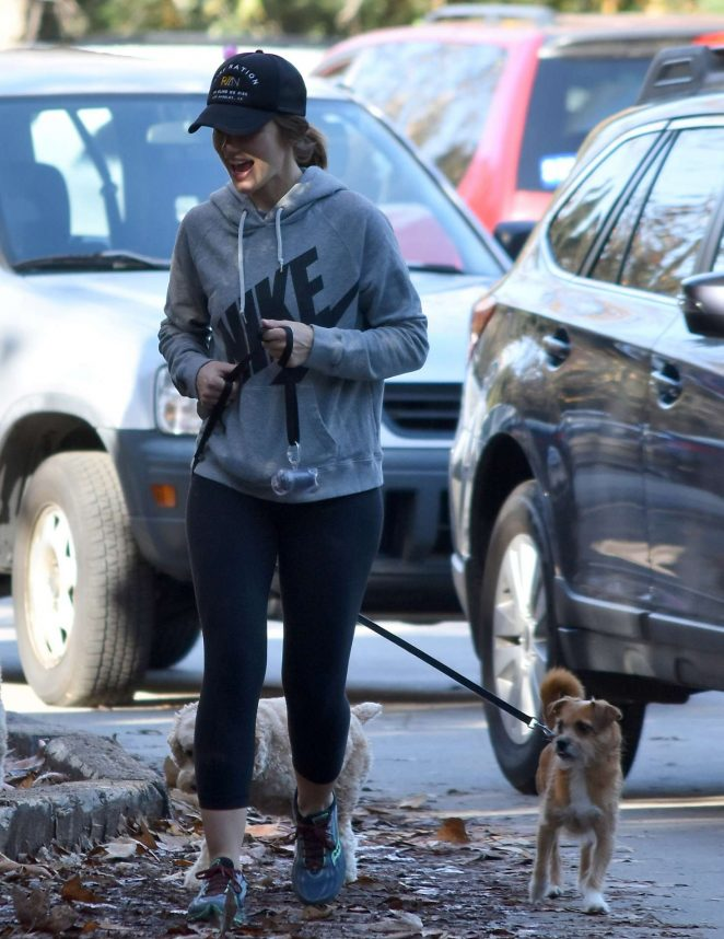 Minka Kelly with her dog out in Los Angeles