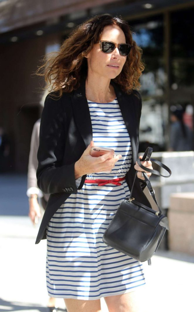Minnie Driver in Mini Dress Out in Los Angeles