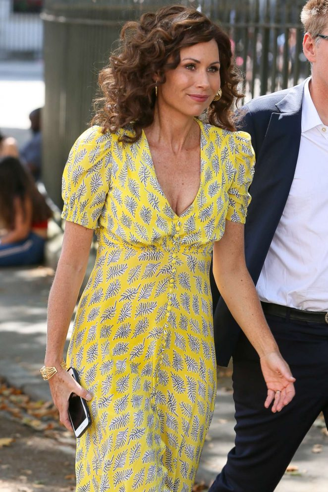 Minnie Driver in Yellow Dress - Out in London