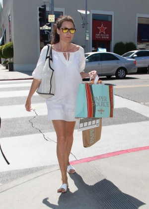 Minnie Driver in Mini Dress Out in LA
