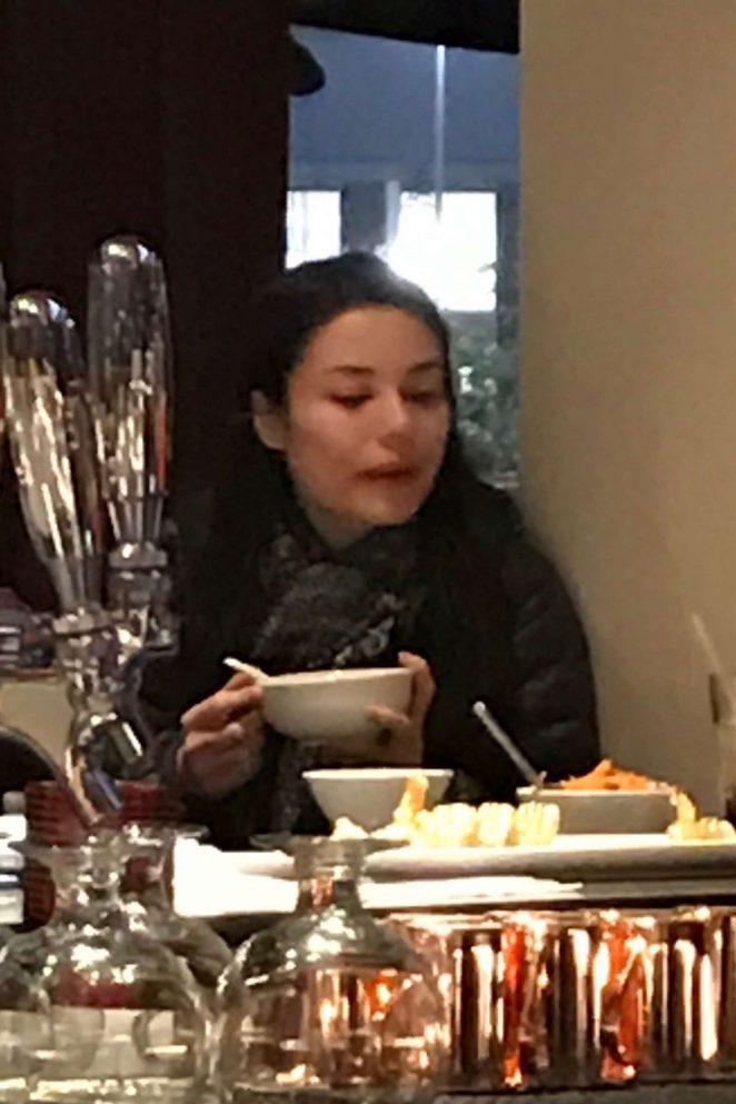 Miranda Cosgrove having a meal at Benihana in Downey