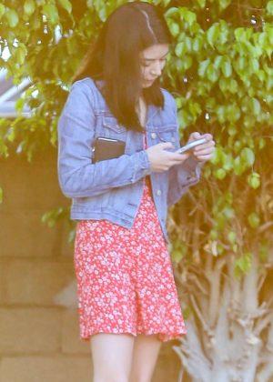 Miranda Cosgrove in Red Mini Dress - Out in Beverly Hills