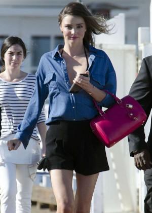 Miranda Kerr in Mini Skirt - Arriving to a Photoshoot on the Malibu Pier