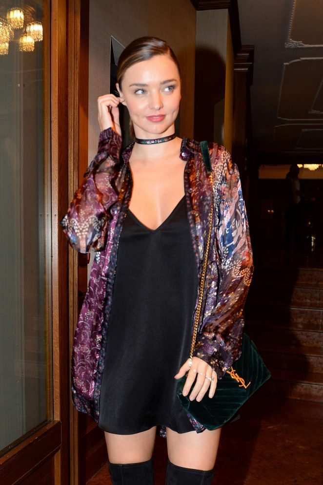 Miranda Kerr in Black Mini Dress out in Milan