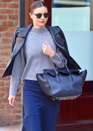 Miranda Kerr in Blue Skirt out in New York