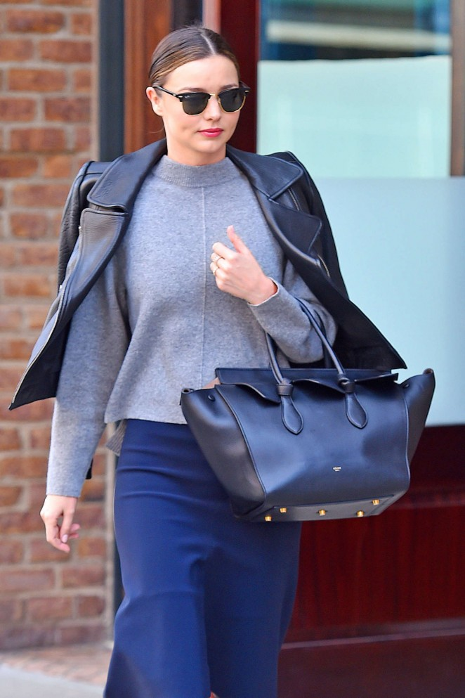 Miranda Kerr in Blue Skirt out in New York