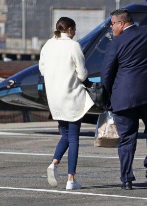 Miranda Kerr in Jeans Leaving New York