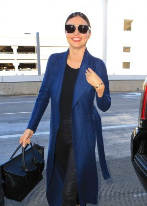 Miranda Kerr in Leather Arrives to Paris