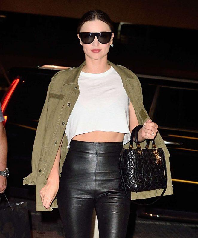 Miranda Kerr in Leather at JFK Airport in NYC