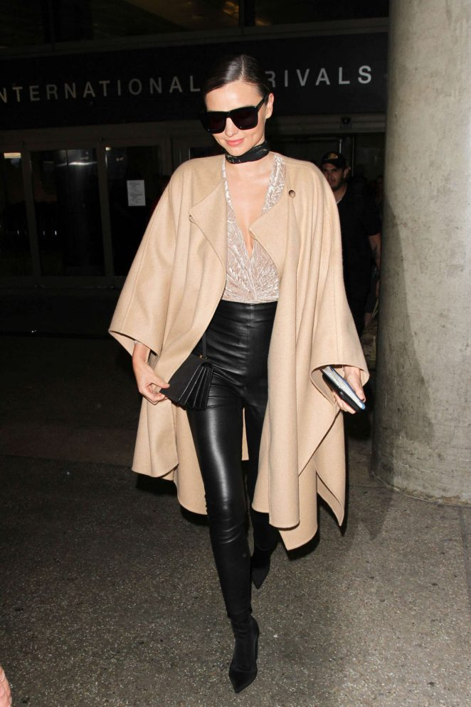 Miranda Kerr in Leather Pants at LAX in Los Angeles