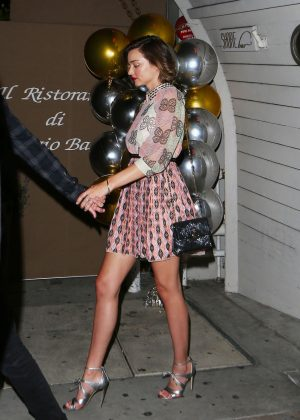 Miranda Kerr in Mini Skirt at SHORE bar in Santa Monica