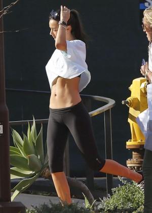 Miranda Kerr in Tights Leaving a yoga class in Malibu