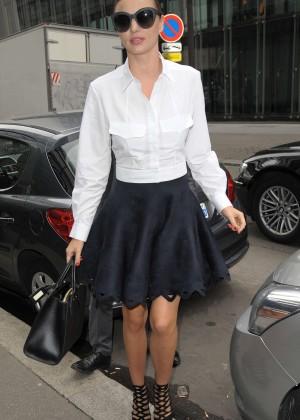 Miranda Kerr in Black Skirt Out in Paris