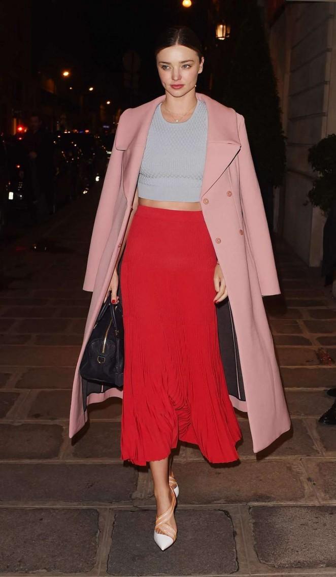 Miranda Kerr in Red Skirt Out in Paris