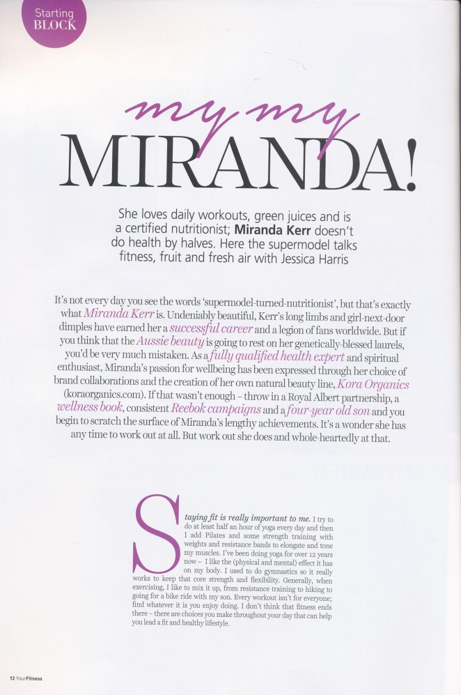 Miranda Kerr: Your Fitness Magazine 2015 -01