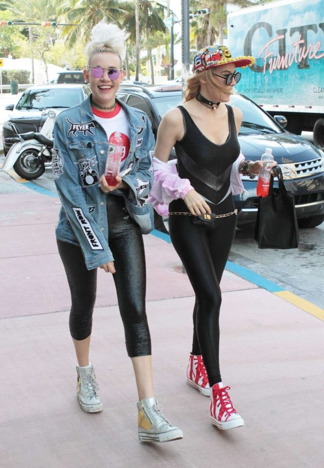 miriam and olivia nervo in tights out in miami