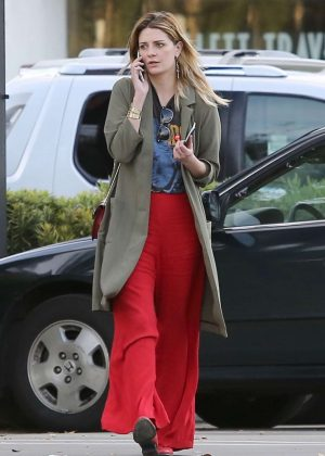 Mischa Barton in Red Pants Out in Studio City