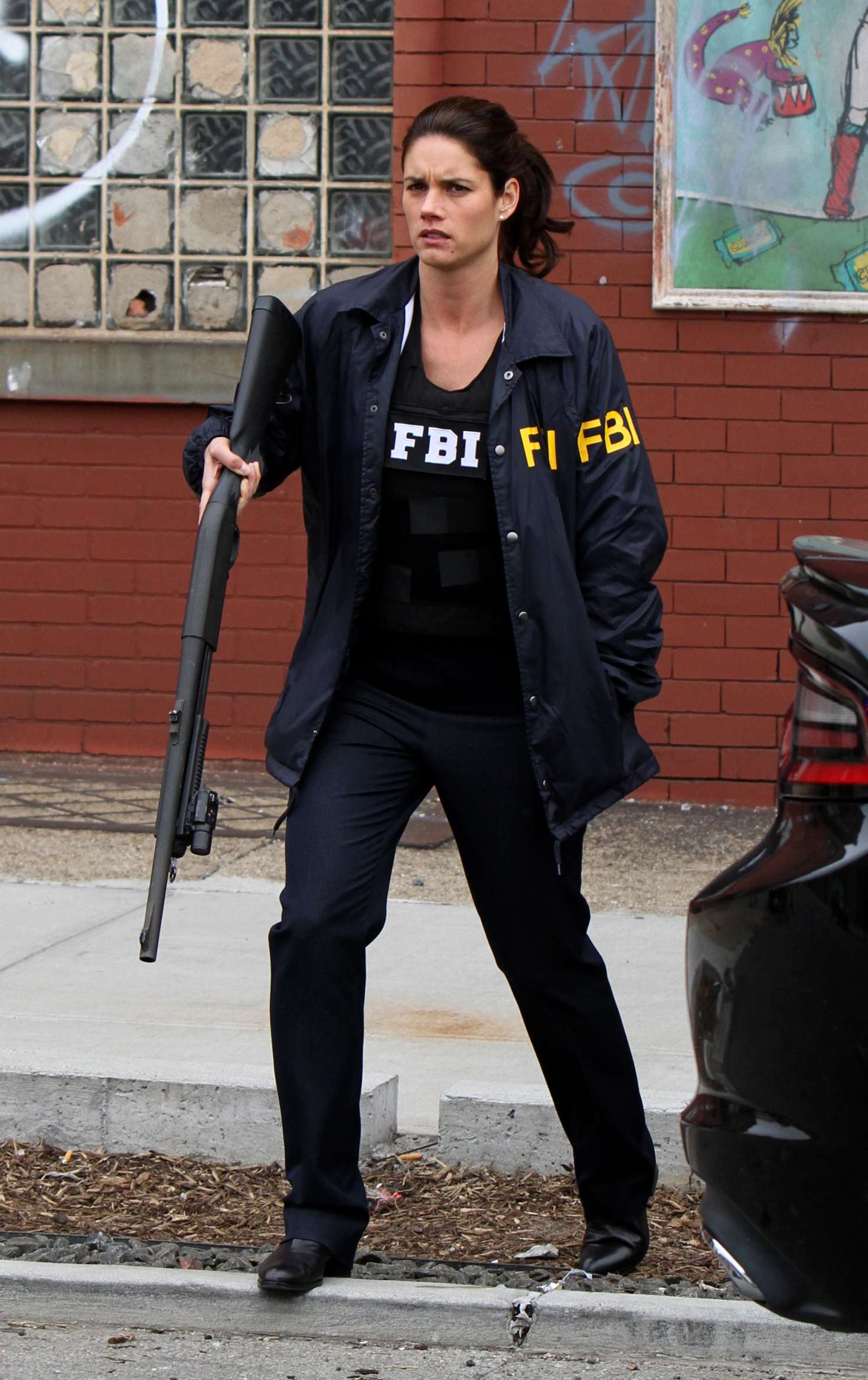 Missy Peregrym on the set of TV series FBI in Brooklyn