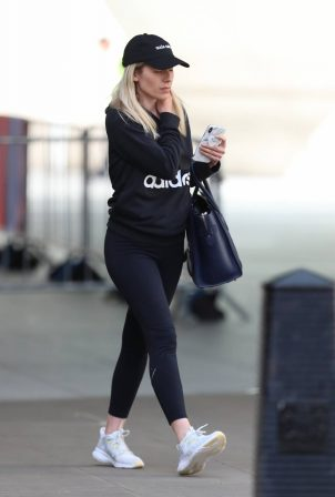 Mollie King - Exit BBC studios in London