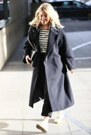 Mollie King - In a black coat at the BBC Radio One Studios in London