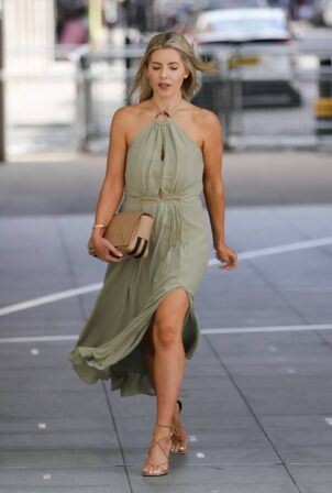 Mollie King - In a green halter neck dress in London
