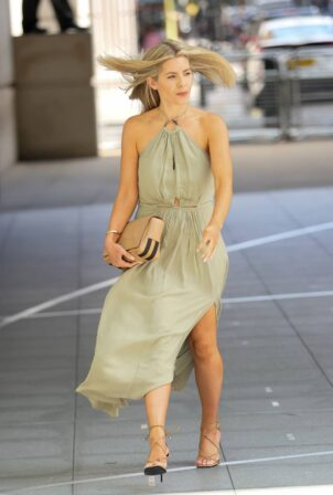 Mollie King - In a thigh skimming green halter neck dress in London
