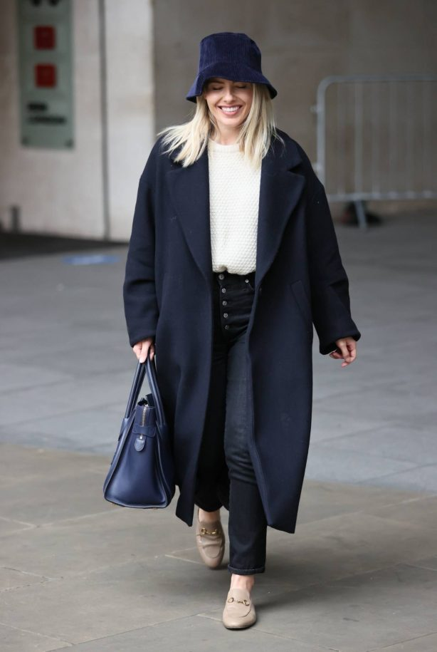 Mollie King - In a winter coat at BBC Studios in London