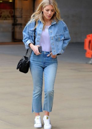 Mollie King in Jeans - Leaving BBC Studios in London