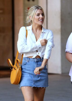Mollie King in Jeans Mini Skirt - Leaving BBC in London