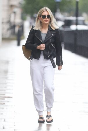 Mollie King - in joggers sandals and crop top in London