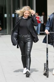Mollie King in Leather Pants - Leaving the BBC in London