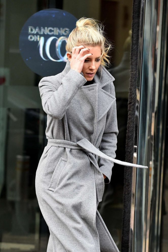 Mollie King in Long Coat out in London