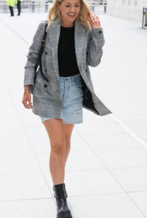 Mollie King - In shorts arriving at the BBC Radio One in London