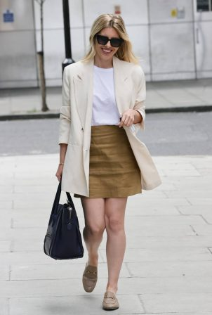 Mollie King - Looks chic in cream blazer and olive skirt at BBC studios in London