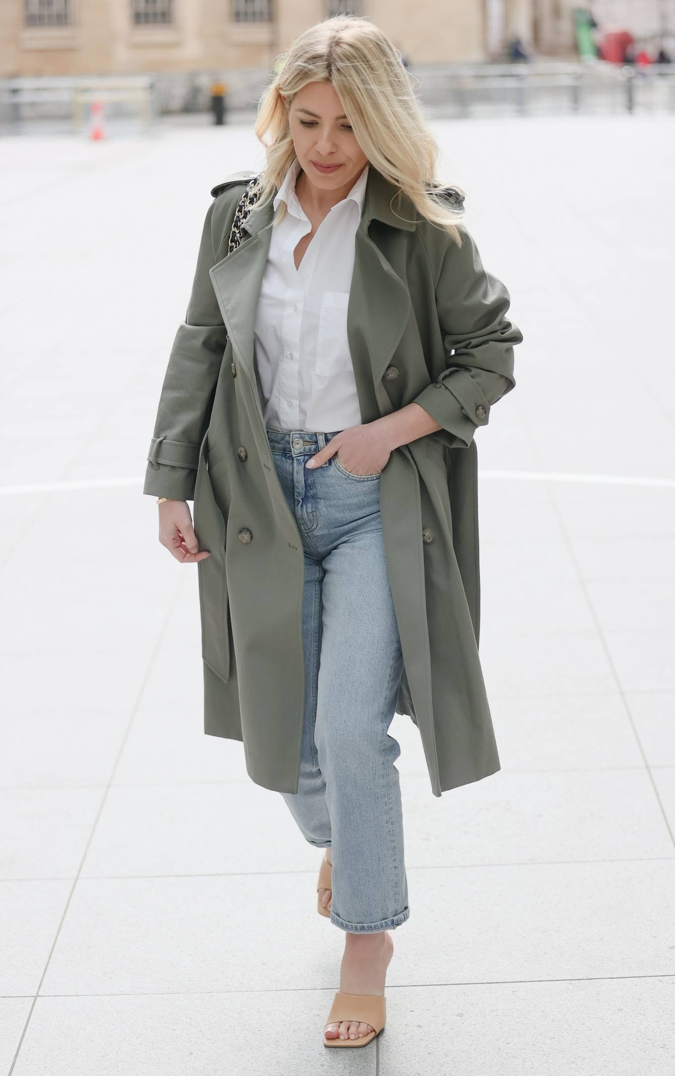 Mollie King - Out in denim at BBC Radio appearance in London