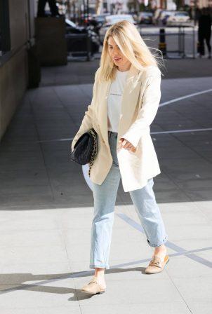 Mollie King - Seen in cream blazer at BBC studio in London