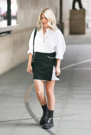 Mollie King - Seen in monochrome at BBC Radio One studios in London