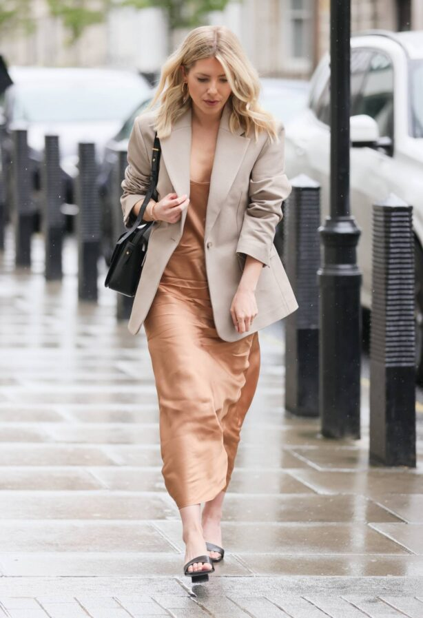 Mollie King - Seen wearing a bronze dress at BBC Radio 1 in London