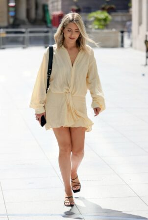 Mollie King - Steps out in a cream mini dress at the BBC Studios in London