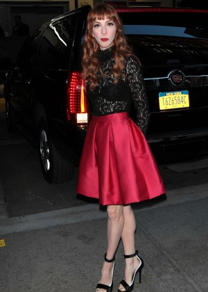 Molly Bernard in Red Dress out in New York