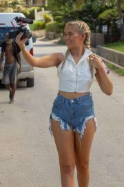 Molly-Mae Hague in Denim Shorts - On holiday in Barbados