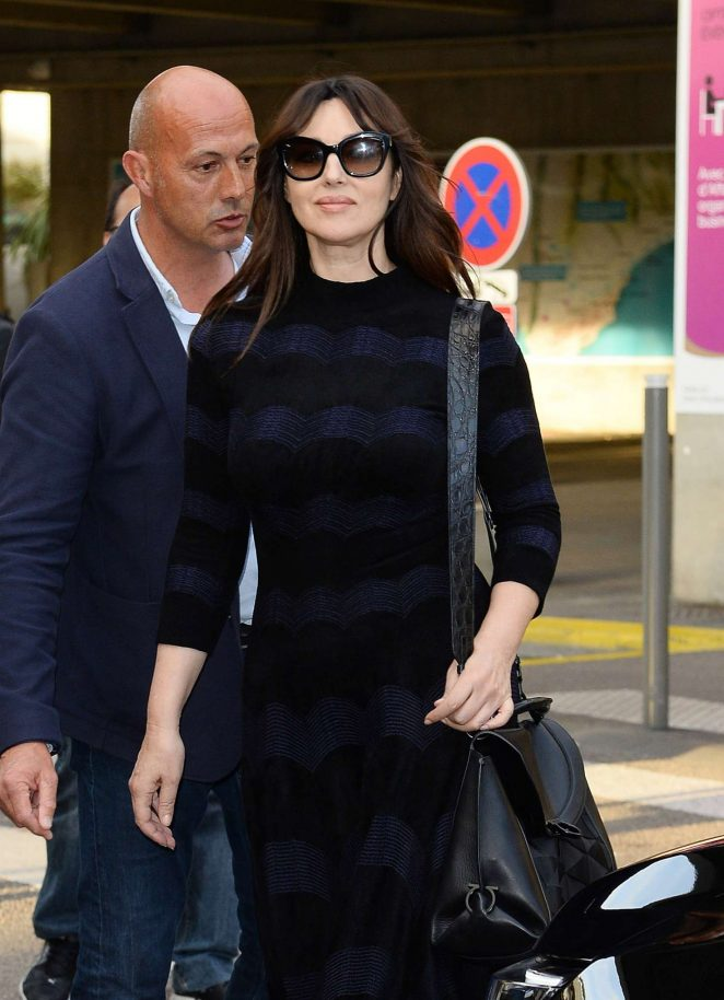 Monica Bellucci Arrives at Nice airport in Cannes