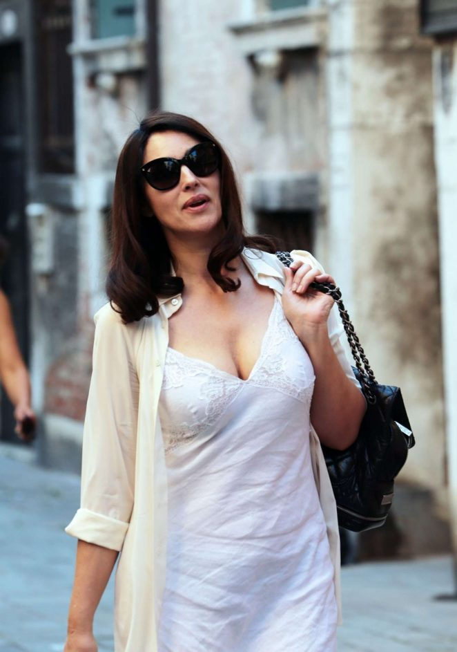 Monica Bellucci – In White Dress On the Set of Amazons Mozart in the Jungle in Venice