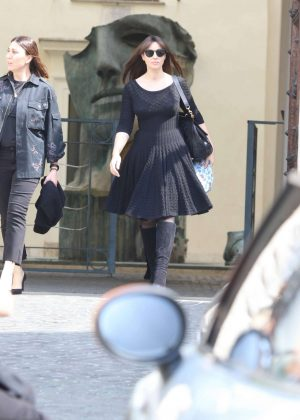 Monica Bellucci Leaving Valentino's show room in Rome
