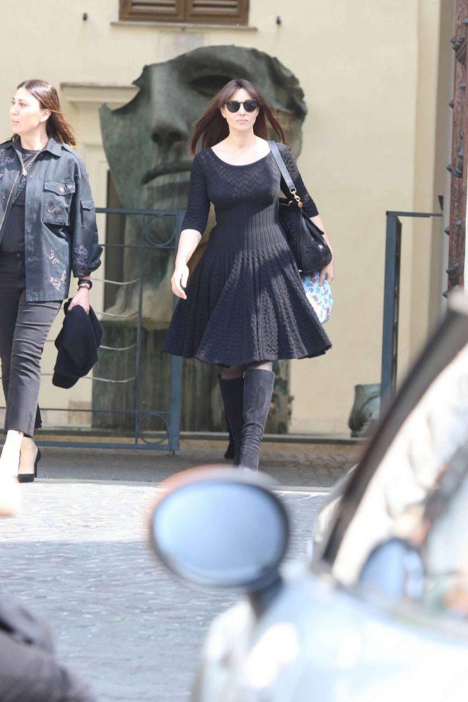 Monica Bellucci Leaving Valentino's show room in Rome